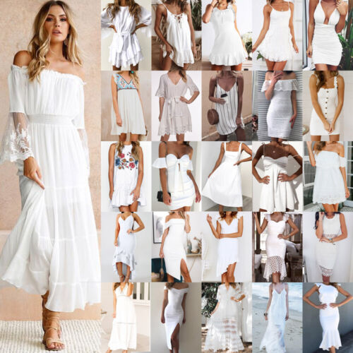 f7032982f0d515 DE Damen Weiß Sommerkleid Strandkleid Partykleid Minikleid Maxikleid  Trägerkleid