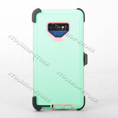 Samsung Galaxy Note 9 Defender Hard Case w/Holster Belt Clip - Mint Green/Pink