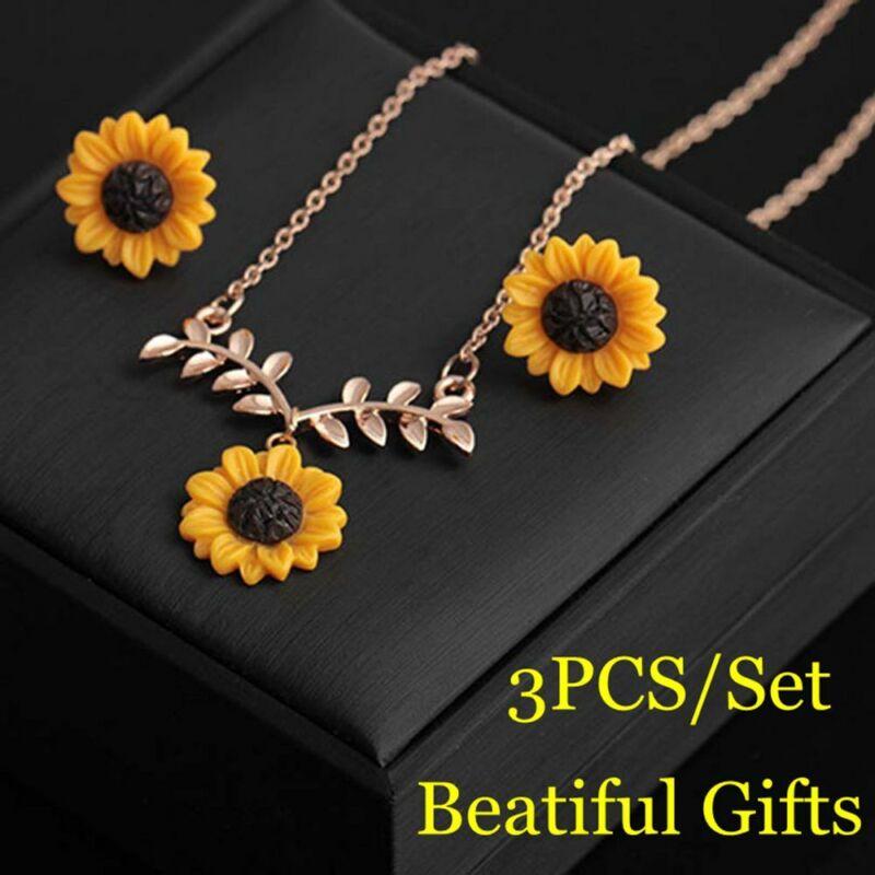 7a49a5f45fec0 Details about Women Flower Earrings Sunflower Necklace Leaf Branch Pendant  Jewelry Set