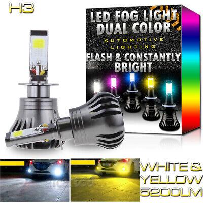 2X H3 Upgrade LED Fog Light Bulbs Dual Color w/ Flash Mode 6K White + 3K