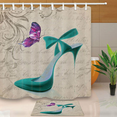 Butterfly lady high heels Shower Curtain Bathroom Fabric & 12hooks 71*71inches - Butterfly Bathroom