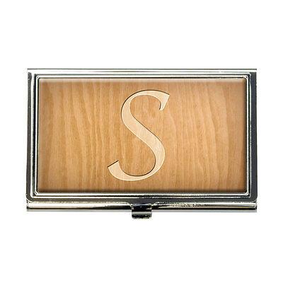 Letter S Wooden Engraving Business Credit Card Holder Case