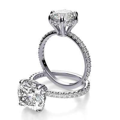 2.13Ct Round Cut Under Halo U-Prong Pave Diamond Engagement Ring - GIA CERTIFIED 1