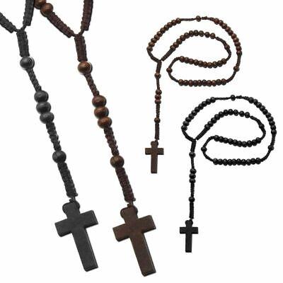 1 Rosenkranz Kreuz Holzperlen Braun Schwarz 55 cm 59 Perlen Kruzifix