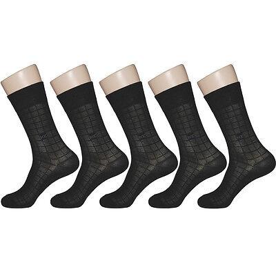 "5 Pairs Mens Black Mesh Thin Dress Socks ""Skin contact surface is 100% cotton"""
