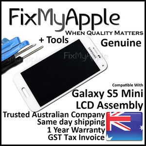 Samsung Galaxy S5 Mini OEM White LCD Touch Screen Digitizer Assembly Replacement