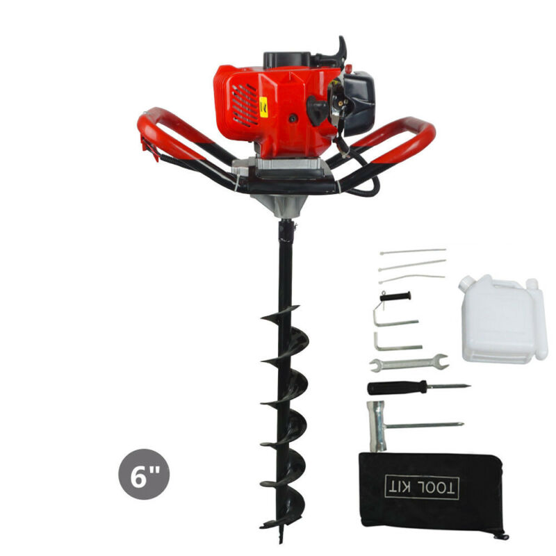 """2.2HP Gas Powered Post Hole Digger W/6"""" Earth Auger Drill Bit 52CC Power Engine"""