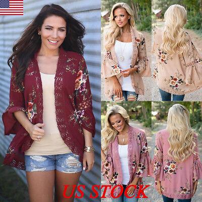 (Women Summer Floral  Shawl Kimono Cardigan Tops Beach Cover Up Blouse Beachwear)