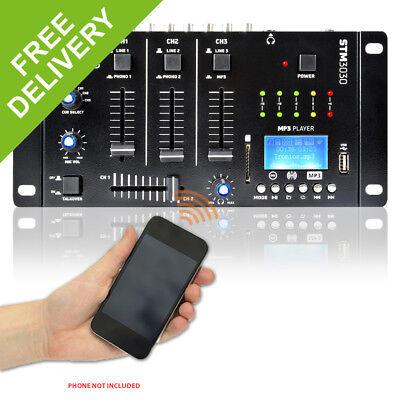 Vexus STM3030 Bluetooth Wireless DJ Mixer 4-Channel SD USB MP3 Live Recorder
