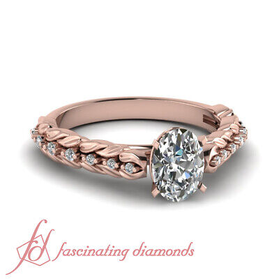 .65 Ct Oval Shaped Rose Gold Unique Diamond Engagement Ring GIA Ring Size 4-10