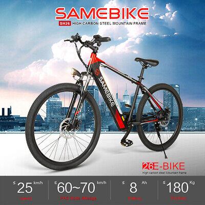 Samebike Bicicleta EléCtrica Asistencia 26'' Ciclomotor 8AH 60-70Km Alcance D8P0