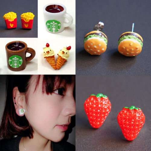 1PC Personality Foodie Starbuck Hamburger Chip Fruit Resin Pierced Stud Earrings