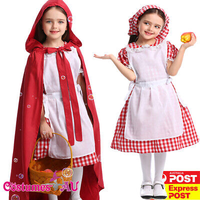 Girls Deluxe Little Red Riding Hood Costume Kids Story Book Week Fancy Dress - Little Red Riding Hood Costume Child