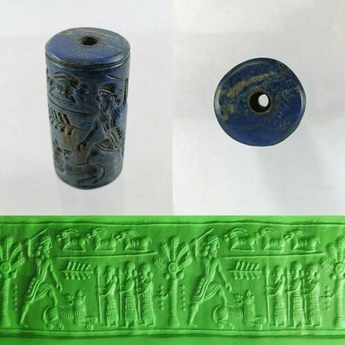 Sassanian Cylinder Seal Bead Ancient Lapis Lazuli Round Intaglio #369