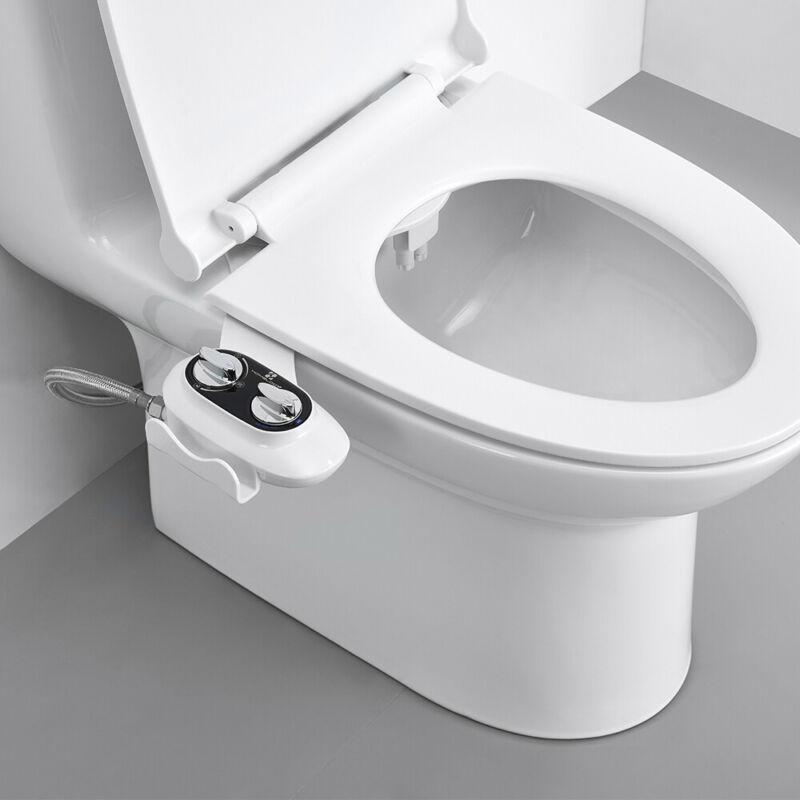 Bidet Fresh Water Spray Kit Non Electric Toilet Seat Attachment with Dual Nozzle