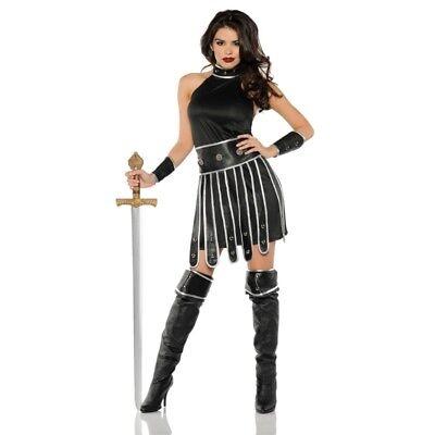 Warrior Queen Costume Womens Adult Black Roman Egypt Gladiator Fancy Dress SM-XL