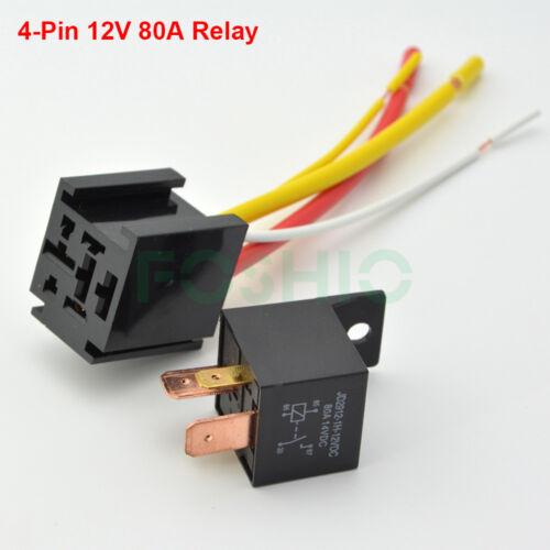 12V 80A 4Pin DC AMP SPST Car Relays + Socket Starter Relay U