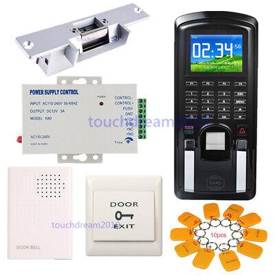 Color Fingerprint Security Entry Control Time Attendance Kit  Strike Door Lock
