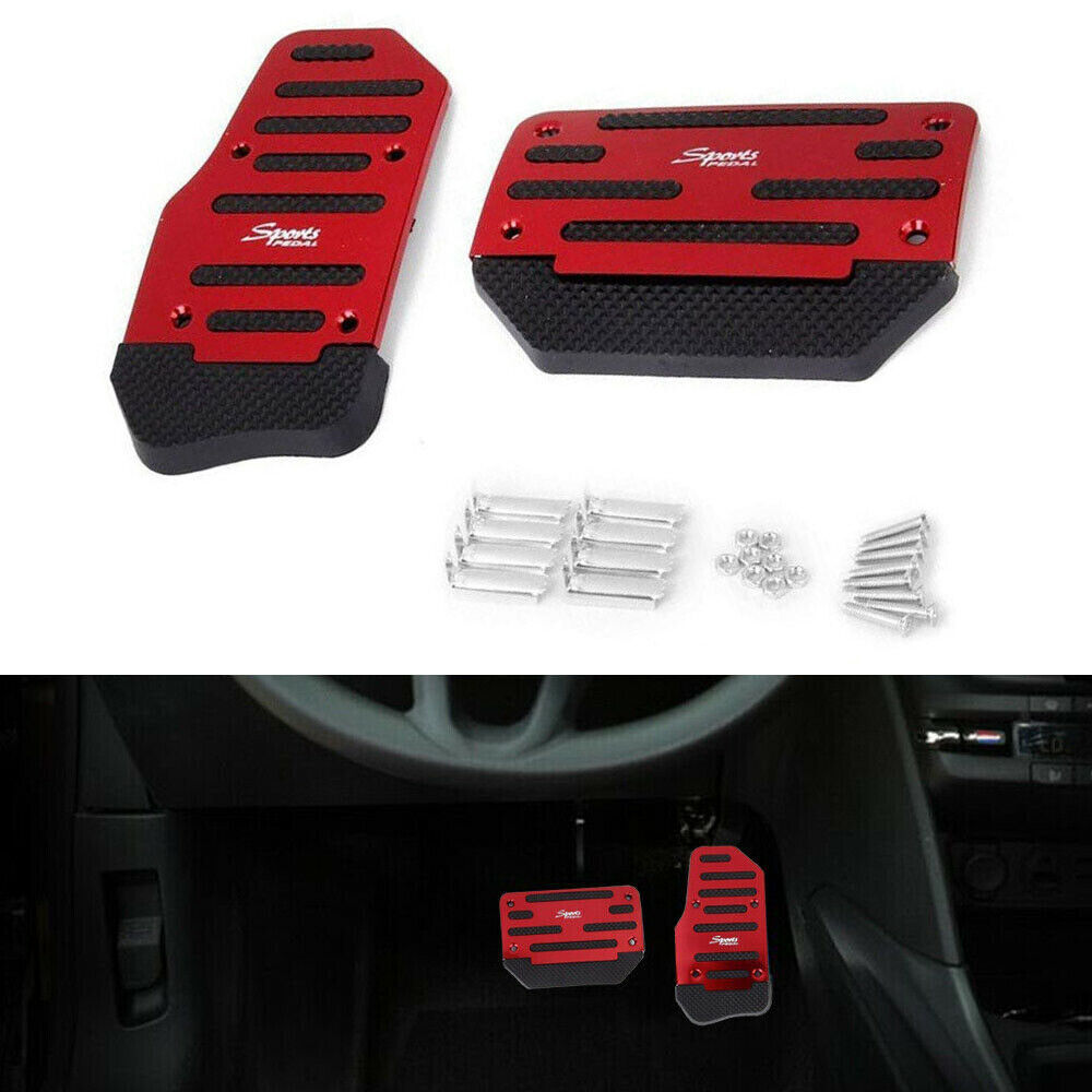 Universal Automatic Red Non-Slip Pedal Brake Foot Treadle Cover Accessories Kit Car & Truck Parts