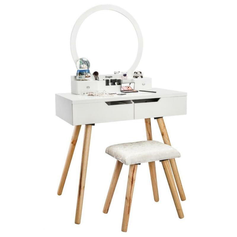Round Mirror 4 Drawers Vanity Makeup Table Dressing Wood Desk Set with Stool Set