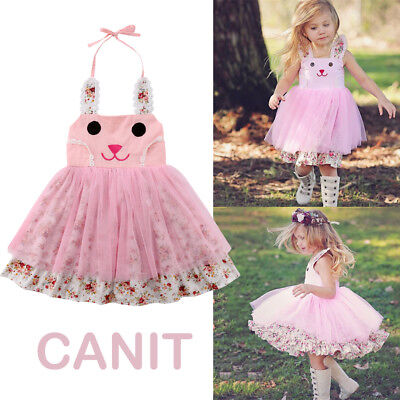US Baby Girl Easter Bunny Dress Floral Party Outfit Princess Tulle Tutu Sundress (Baby Girl Party)