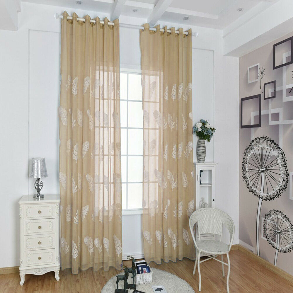 Details about Embroidered Feather Design Drape Living Room Balcony Window  Voile Sheer Curtain