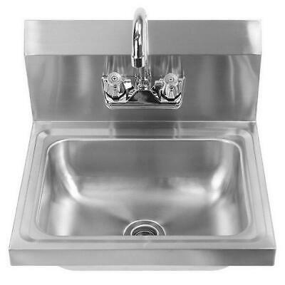 New Commercial Stainless Steel Hand Wash Washing Wall Mount Sink Kitchen Silver