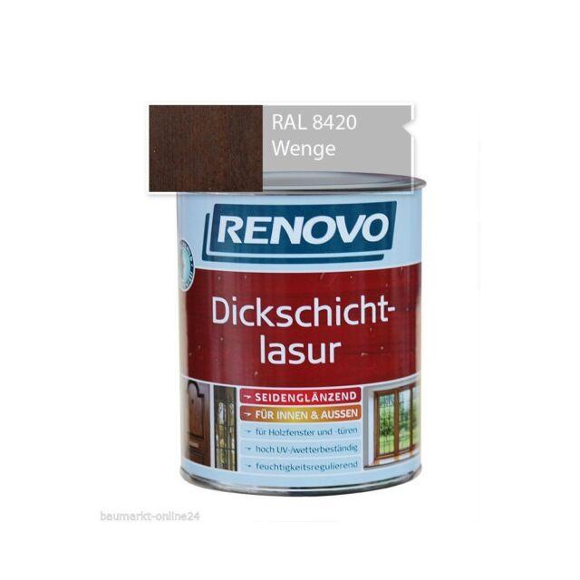 Renovo Dickschichtlasur Holzschutz Wenge 0,750 L