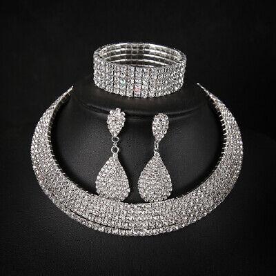 Jewelry 3pc Set Ladies Party Rhinestone Necklace+earring+bracelet - Bridal Party Jewelry