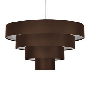 Modern Chocolate Brown Fabric 4 Tier Ceiling Light Lamp Shade Fitting Lampsha