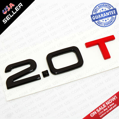 Nameplate For Audi 2.0T Black & Red Emblem Trunk Logo Badge Decoration