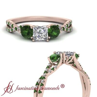 1 Ctw Princess Cut Diamond And Emerald Trellis Twisted Rose Gold Engagement Ring