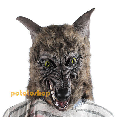 Creepy Latex Wolf Head Mask Animal Theme Party Scary Halloween Costume