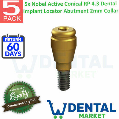 X 5 Nobel Active Conical Rp 4.3 Dental Implant Locator Abutment 2mm Collar