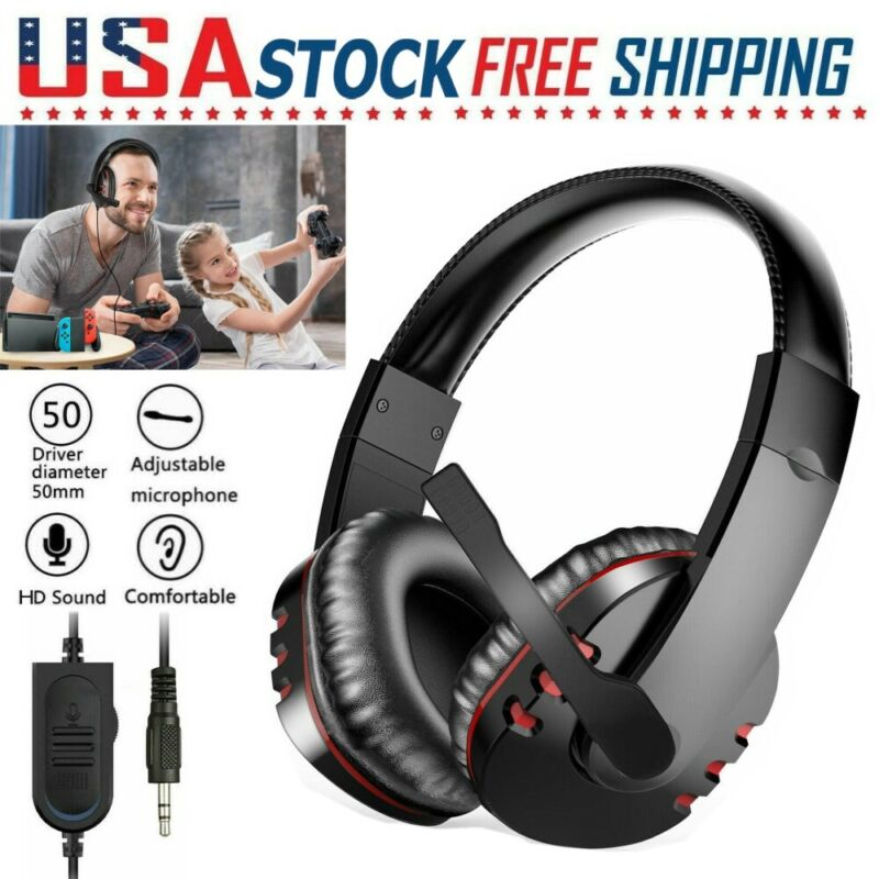 Gaming Headset with Mic Stereo Gamer Bass Surround Headphone For PS4 Xbox One PC