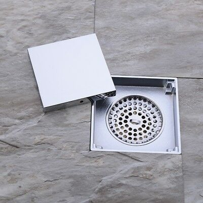 4-inch Brass Square Shower Floor Drain Tile Insert Grate Removable Cover Chrome