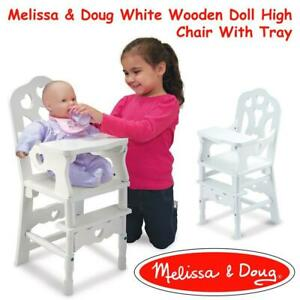 NEW Melissa  Doug White Wooden Doll High Chair With Tray (14.75 x 25 x 14 inches) Condtion: New, 20, White