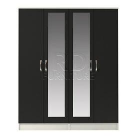 Hampton 4 door double mirrored wardrobe white and black