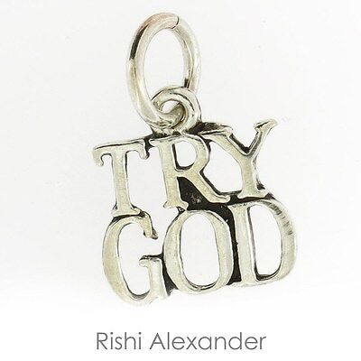 925 Sterling Silver Try God Charm Made in America