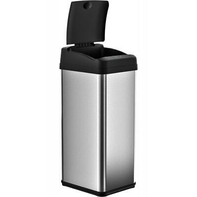 iTouchless 13 Gal. Stainless Steel Square Extra-Wide Lid Touchless Trash Can