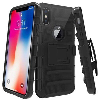 IPhone X 10 Rugged Hybrid Belt Clip Holster Combo Armor Case Cover w Kickstand segunda mano  Embacar hacia Argentina