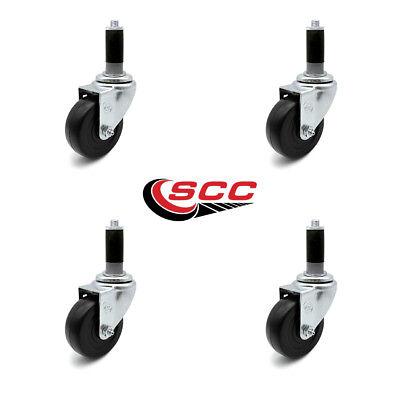 Scc 3 X 1.25 Hard Rubber Wheel Caster W1 Expanding Stem - Set Of 4