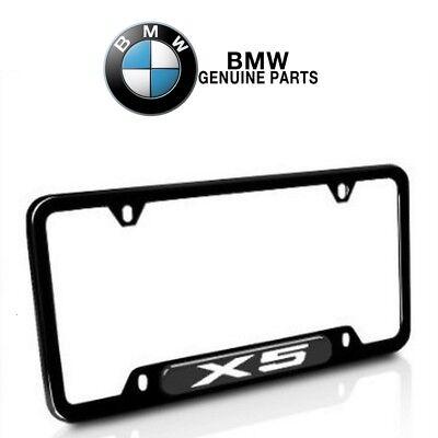 For BMW E70 X5 2000-2016 Stainless Steel License Plate Frame Black Genuine