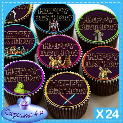 24 X MIX HAPPY BIRTHDAY STAR WARS CUPCAKE TOPPERS EDIBLE CAKE RICE PAPER CC0372