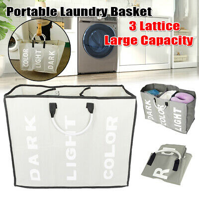 3 Section Folding Laundry Basket Bag Bathroom Sorter Hamper Bins Clothes (Sorter Folding)