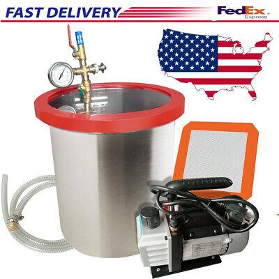 5 Gallon 3 Cfm Stainless Steel Vacuum Degassing Chamber Kit 3cfm Pump From Usa
