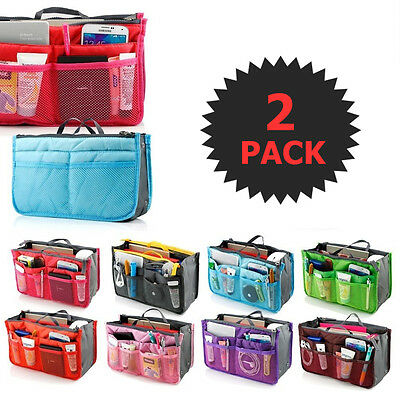 2 X Purse Organizer Insert Pack Women Travel Set Handbag Liner Tidy Dual GIFT