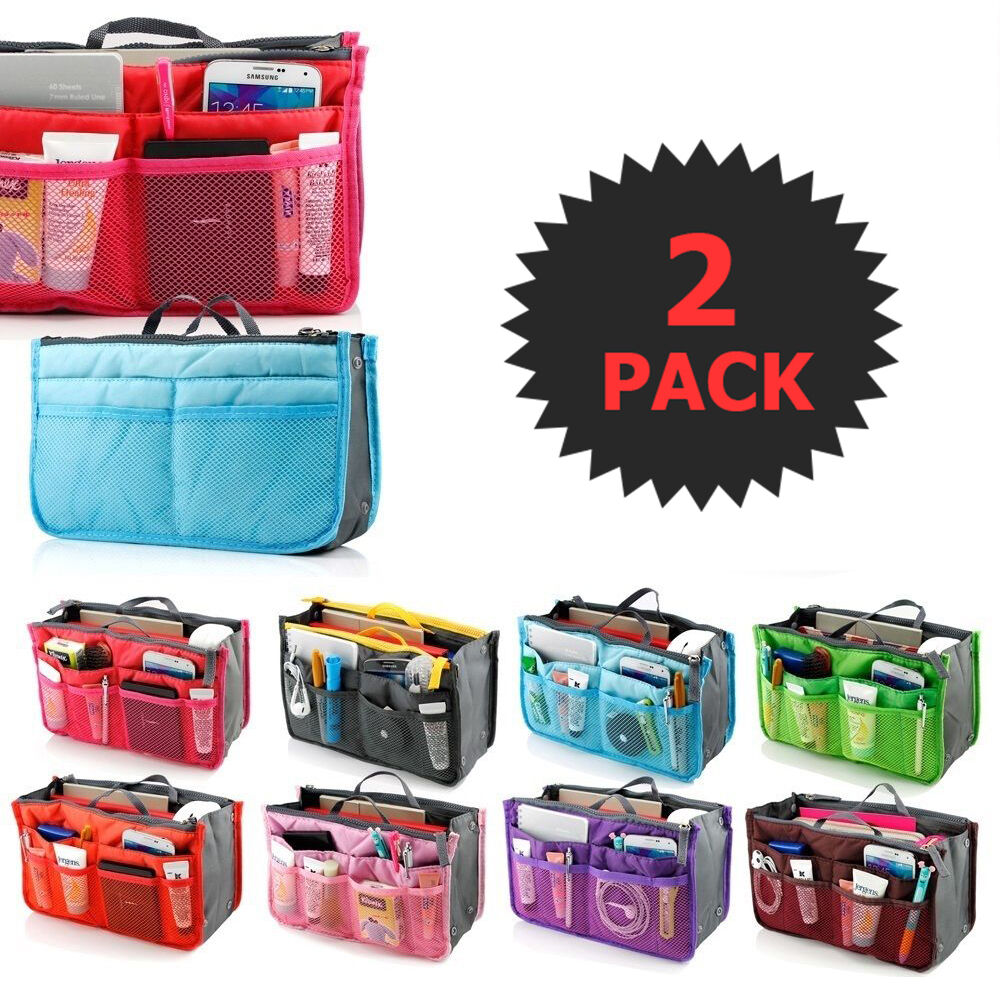 2 X Large-hearted Purse Organizer Insert Pack Women Travel Set Handbag Liner Tidy Dual