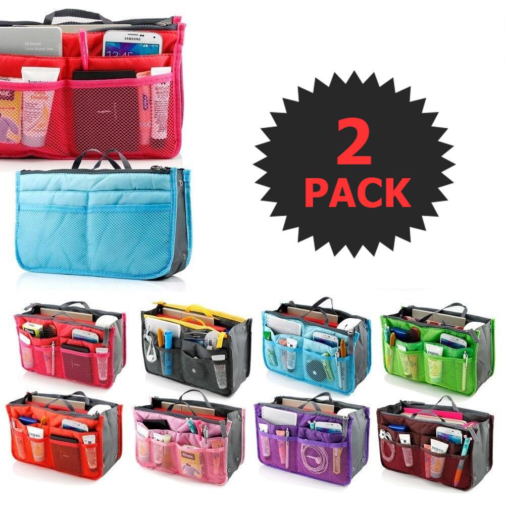 2 X Purse Organizer Insert Pack Women Travel Set Handbag Lin