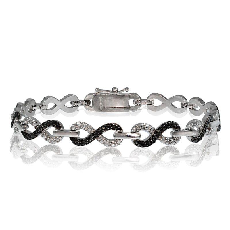 Black Diamond Accent Infinity Bracelet in Silver Plated Brass